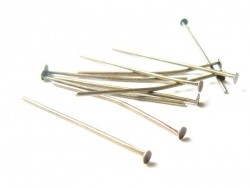 10 bronze-coloured head pins - 30 mm