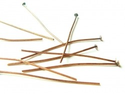 10 copper-coloured head pins - 40 mm