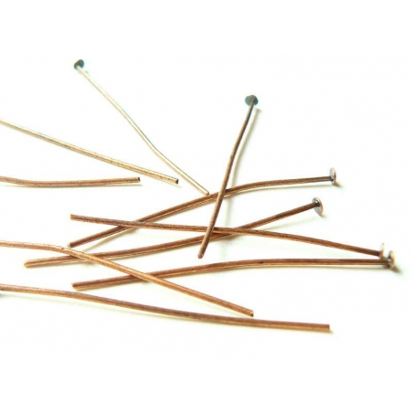 10 copper-coloured head pins - 40 mm