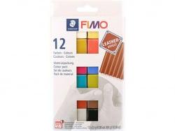 Pack de 12 demi-pains de pâte Fimo LEATHER EFFECT Fimo