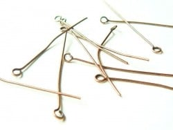 10 copper-coloured eye pins - 40 mm