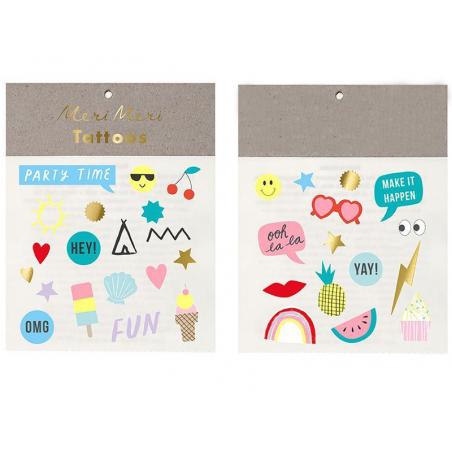 Acheter 2 planches de mini tatouages temporaires – Party Time - 2,19€ en ligne sur La Petite Epicerie - 100% Loisirs créatifs