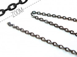 1 m of metallic black cable chain - 3 mm