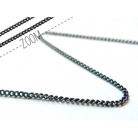 1 metallic-blac curb chain - 1 mm