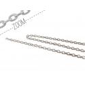1m chaine forçat argentée 3 mm