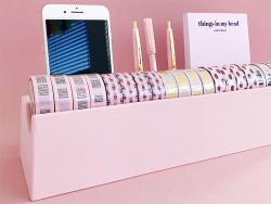 Acheter Organisateur de bureau en bambou spécial washi tape - rose - 24,99€ en ligne sur La Petite Epicerie - Loisirs créatifs