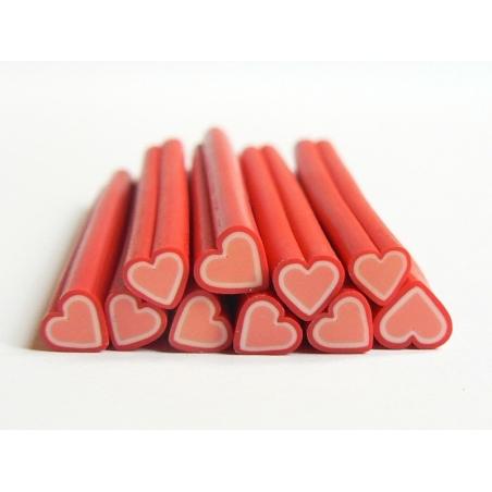 Cane coeur rouge en pâte fimo - à découper en tranches