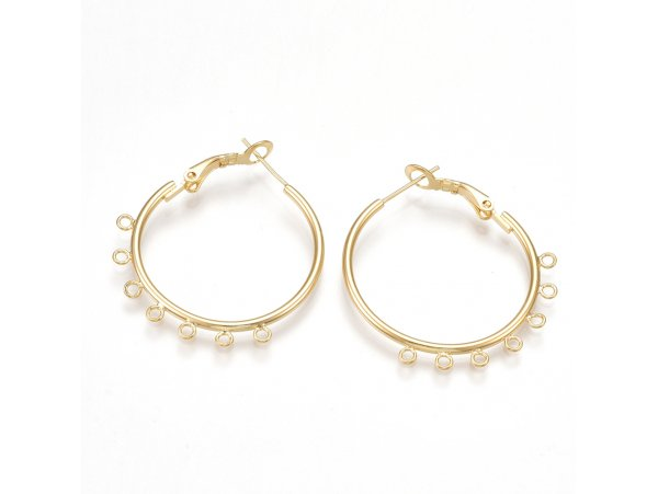 Acheter Boucles d'oreilles créoles 30 mm - dorées à l'or fin - 4,49€ en ligne sur La Petite Epicerie - 100% Loisirs créatifs