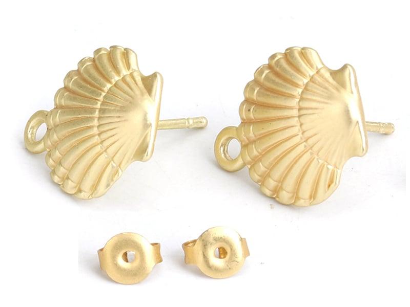 Acheter Paire de boucles d'oreille - puce d'oreille coquillage - couleur or - 4,59€ en ligne sur La Petite Epicerie - Loisir...