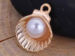 Acheter Pendentif coquillage avec perle - couleur doré - 0,49€ en ligne sur La Petite Epicerie - 100% Loisirs créatifs