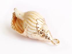 Acheter Pendentif véritable coquillage conque avec détails dorés - 23 mm - 2,99€ en ligne sur La Petite Epicerie - Loisirs c...