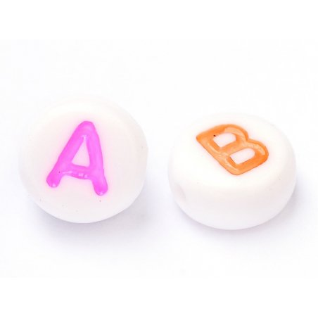 Acheter 200 perles lettres alphabet rondes multicolores - 3,99€ en ligne sur La Petite Epicerie - Loisirs créatifs