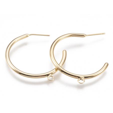 Acheter Boucles créoles avec anneau - diamètre 30 mm - laiton doré à l'or fin 24K - 3,79€ en ligne sur La Petite Epicerie - ...