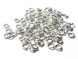 100 anneaux 4 mm argentés clair  - 1