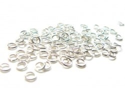 100 anneaux 3 mm argentés clair  - 1