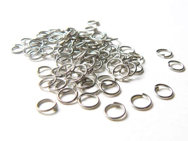 100 anneaux 6 mm argentés foncés  - 1