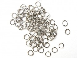 100 dark silver-coloured jump rings, 6 mm
