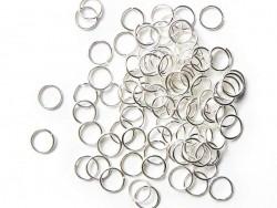 100 anneaux 7 mm argentés clair