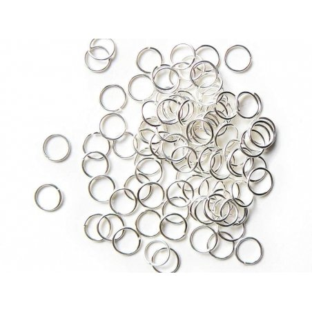 100 light silver-coloured jump rings, 7 mm