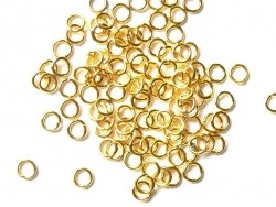 100 gold-coloured jump rings, 4 mm