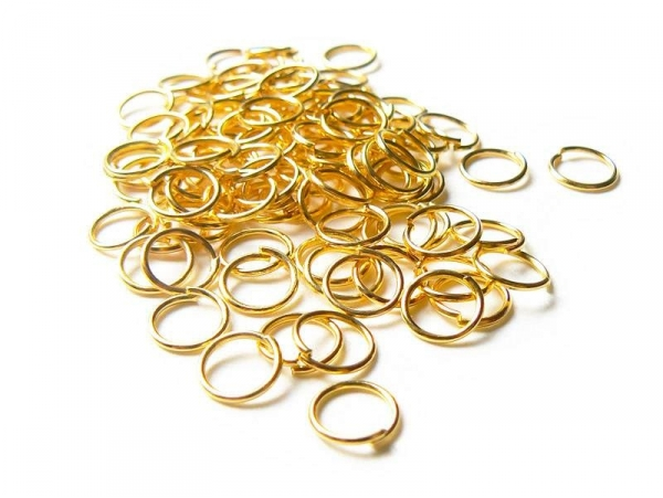 100 gold-coloured jump rings, 7 mm