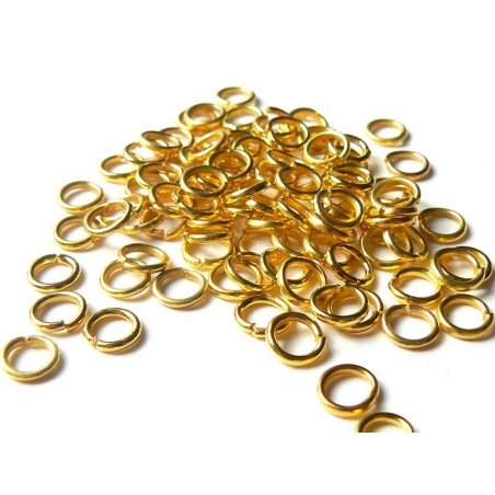100 gold-coloured jump rings, 6 mm
