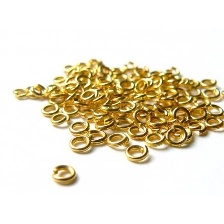 100 gold-coloured jump rings, 3 mm