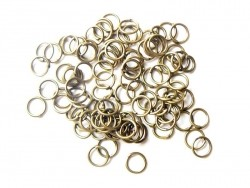 100 bronze-coloured jump rings, 6 mm
