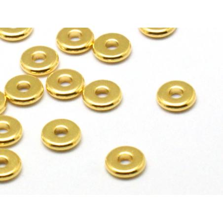 Acheter 20 perles rondelles plates en laiton doré 6x1 mm - 2,99€ en ligne sur La Petite Epicerie - 100% Loisirs créatifs