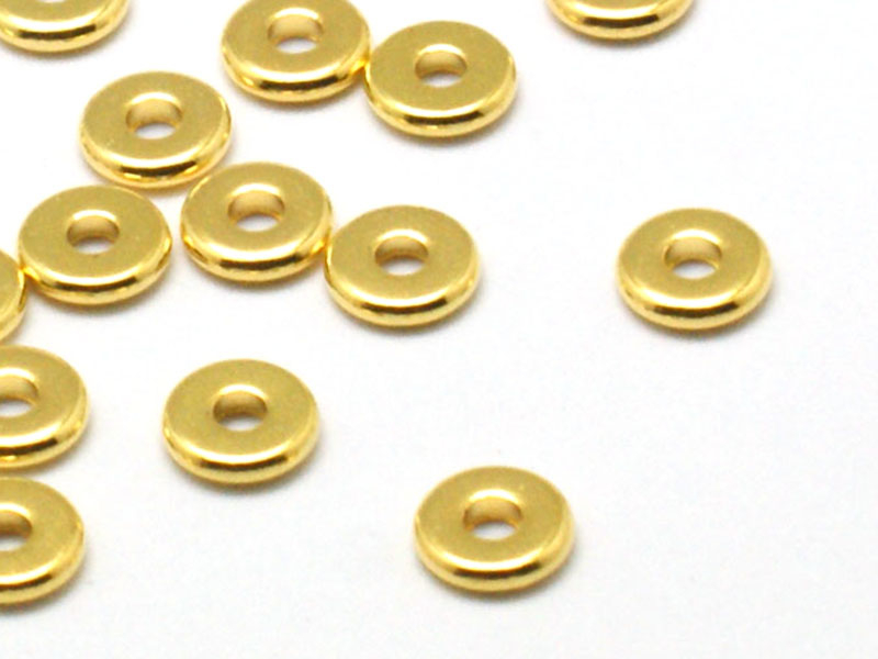 Acheter 20 perles rondelles plates en laiton doré 6x1 mm - 2,99€ en ligne sur La Petite Epicerie - Loisirs créatifs