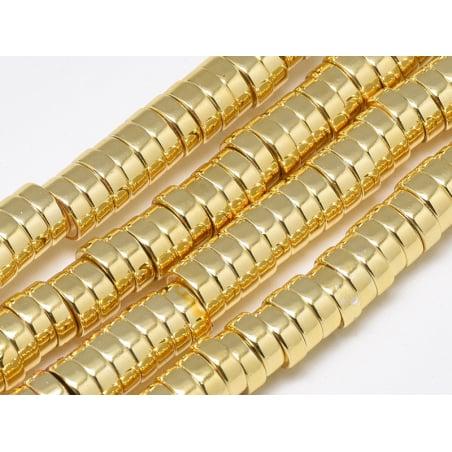 Acheter 20 perles rondelles dorées heishi en hématite - 6x2 mm - 3,99€ en ligne sur La Petite Epicerie - Loisirs créatifs