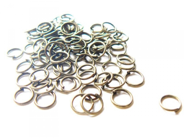 100 bronze-coloured jump rings, 7 mm