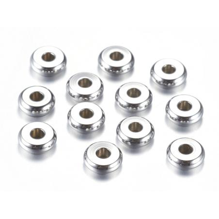Acheter 20 perles rondelles plates arrondies en acier innoxydable - argenté 6x2 mm - 5,29€ en ligne sur La Petite Epicerie -...