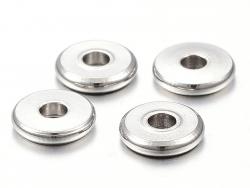 Acheter 20 perles rondelles plates arrondies en acier innoxydable - argenté 6x1 mm - 3,29€ en ligne sur La Petite Epicerie -...