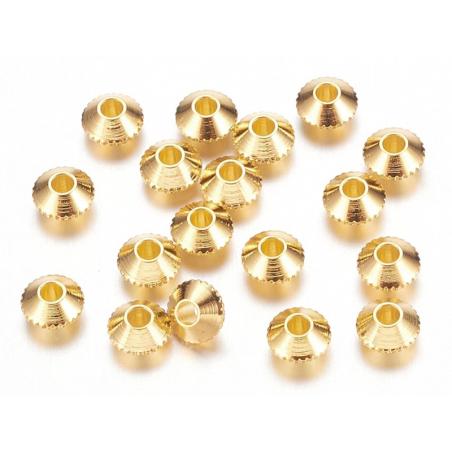 Acheter 20 perles rondelles toupies ciselées en laiton doré - 4 mm - 1,19€ en ligne sur La Petite Epicerie - Loisirs créatifs