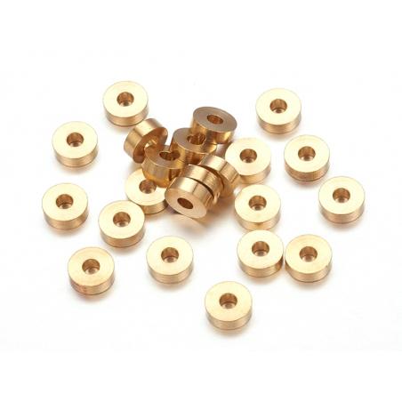 Acheter 20 perles heishi - intercalaires en laiton doré - 6x2 mm - 2,49€ en ligne sur La Petite Epicerie - Loisirs créatifs