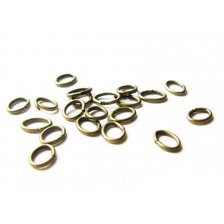 20 bronze-coloured, oval jump rings, 5 mm x 3 mm