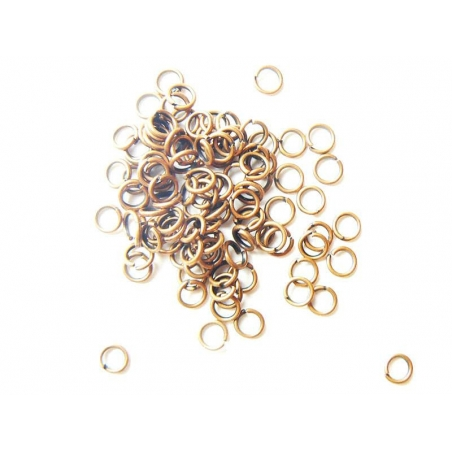 100 copper-coloured jump rings, 4 mm