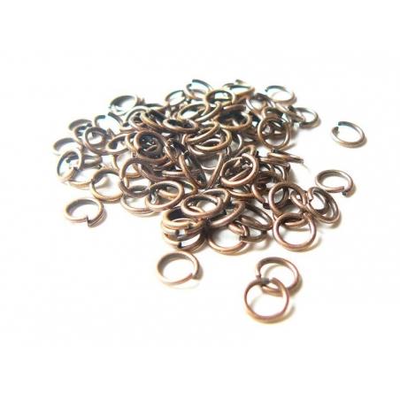 100 anneaux 6 mm cuivrés  - 1