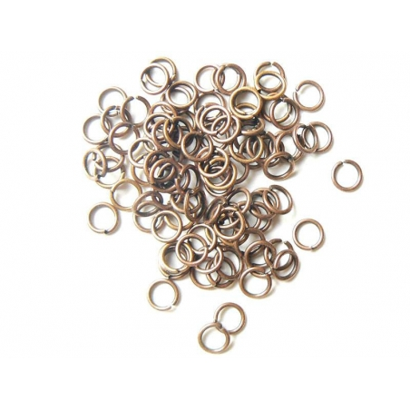 100 copper-coloured jump rings, 6 mm