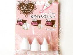 3 PADICO whipped cream nozzles - Sizes S-M-XL