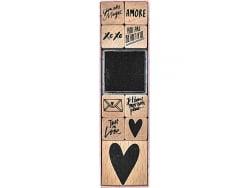 Acheter Kit de 9 tampons + 1 encreur noir - Messages d'amour - 9,29€ en ligne sur La Petite Epicerie - Loisirs créatifs