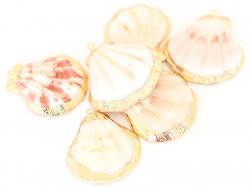 Acheter Pendentif coquillage coquille 45 mm- bordure dorée - 2,59€ en ligne sur La Petite Epicerie - Loisirs créatifs