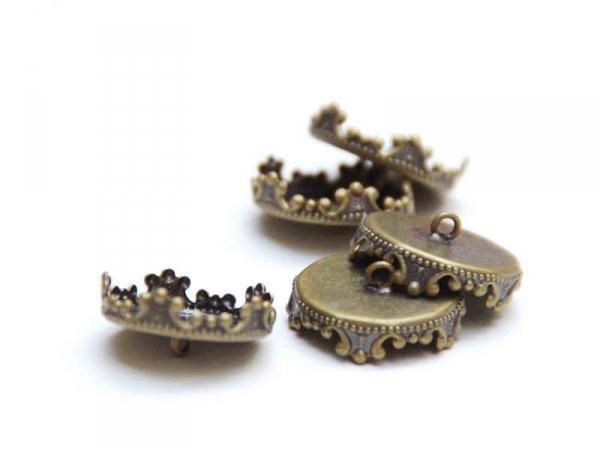 1 pendentif pour bulle 12 mm - couleur bronze  - 1