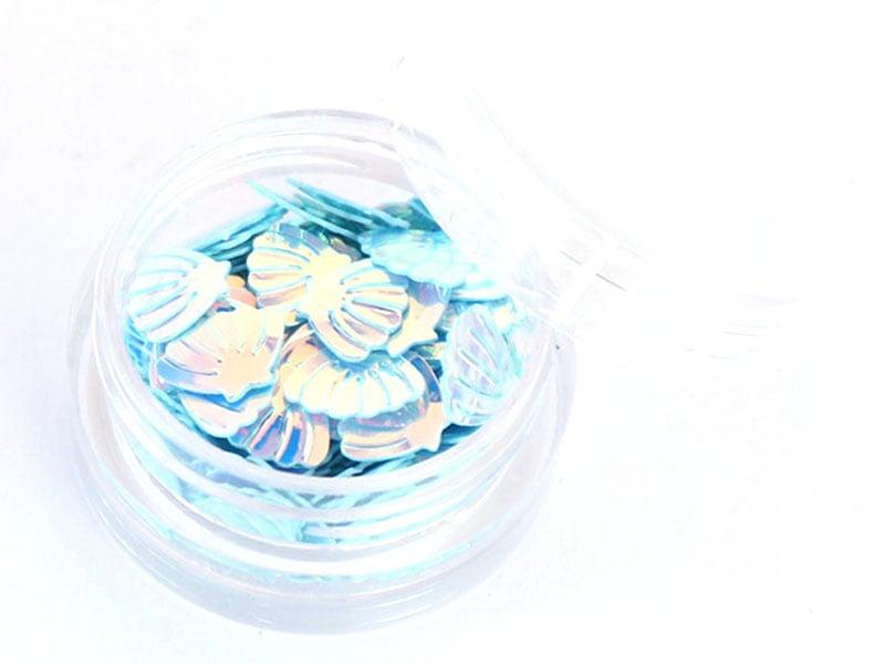 Acheter Petit pot de paillettes en forme de coquillages bleus irisés - 1,99€ en ligne sur La Petite Epicerie - 100% Loisirs ...