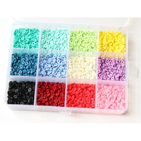 Acheter Boite de 12 couleurs de perles heishi 3 mm - 12,99€ en ligne sur La Petite Epicerie - 100% Loisirs créatifs