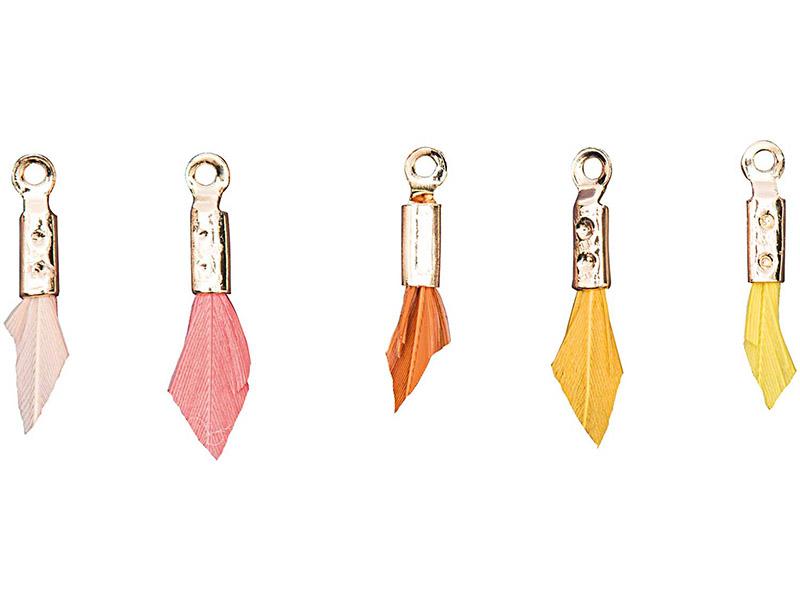 Acheter 5 breloques mini-plumes - tons ocres - 4,69€ en ligne sur La Petite Epicerie - Loisirs créatifs