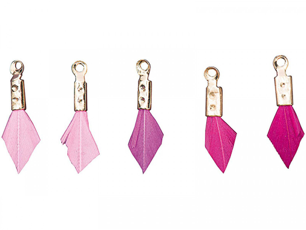 Acheter 5 breloques mini-plumes - tons roses - 4,69€ en ligne sur La Petite Epicerie - Loisirs créatifs