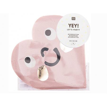 Acheter 20 serviettes en papier coeur rose - 6,19€ en ligne sur La Petite Epicerie - 100% Loisirs créatifs