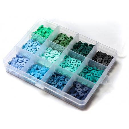 Acheter Boite de 12 couleurs de perles heishi 6 mm - Nuances de bleu et vert - 12,99€ en ligne sur La Petite Epicerie - 100%...